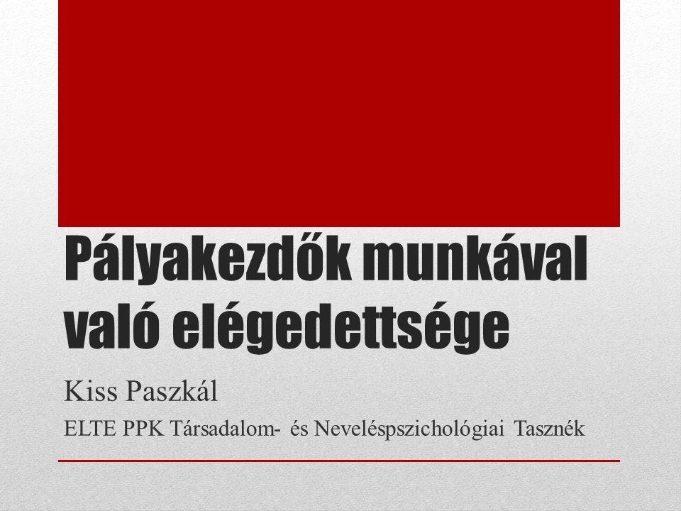 Pályakezdők munkával való elégedettsége Kiss Paszkál ELTE PPK Társadalom- és Neveléspszichológiai Tasznék