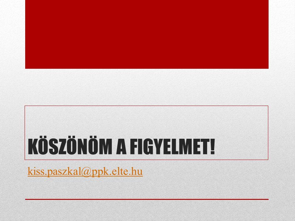 KÖSZÖNÖM A FIGYELMET! kiss.paszkal@ppk.elte.hu