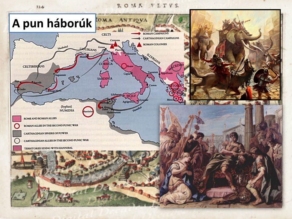 Itália Karthágó (púnok) Hispania Makedónia Kis-Ázsia Egyiptom Afrika Palesztina Gallia Britannia Terjeszkedés a köztársaság korában