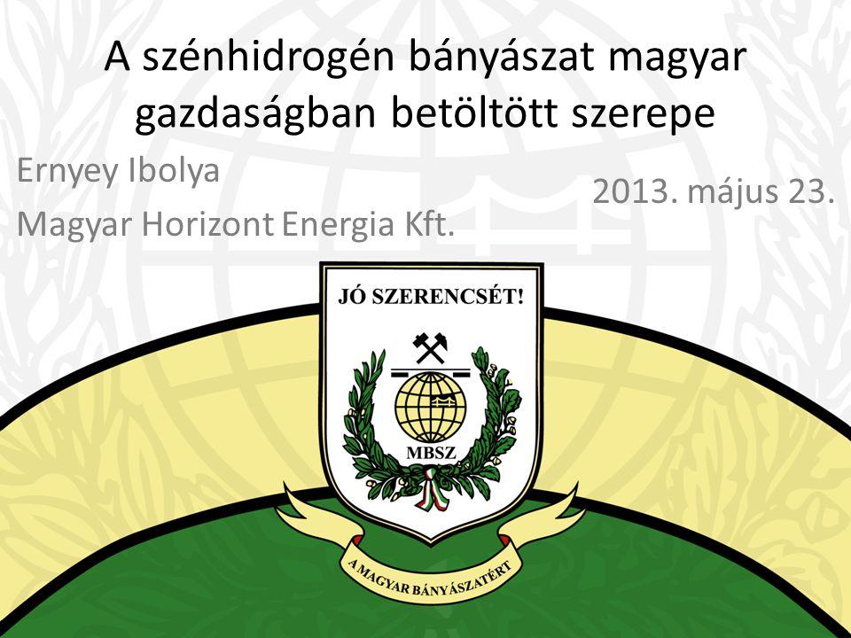 A szénhidrogén bányászat magyar gazdaságban betöltött szerepe Ernyey Ibolya Magyar Horizont Energia Kft. 2013. május 23.