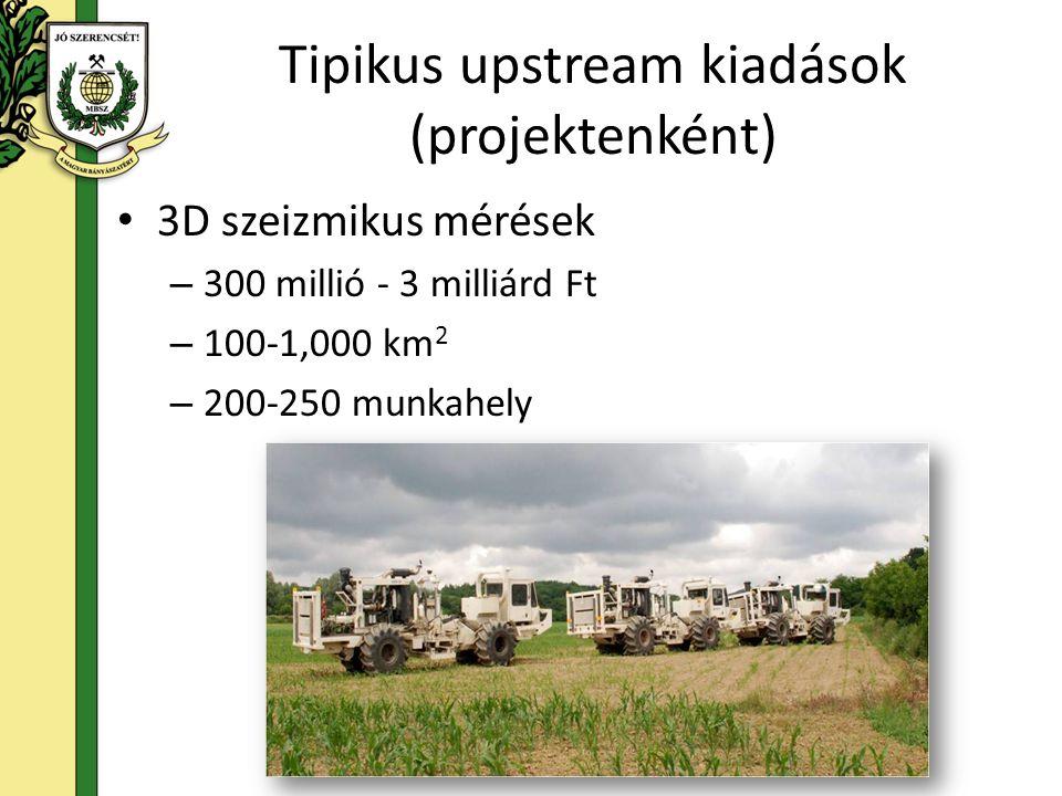 Tipikus upstream kiadások (projektenként) 3D szeizmikus mérések – 300 millió - 3 milliárd Ft – 100-1,000 km 2 – 200-250 munkahely