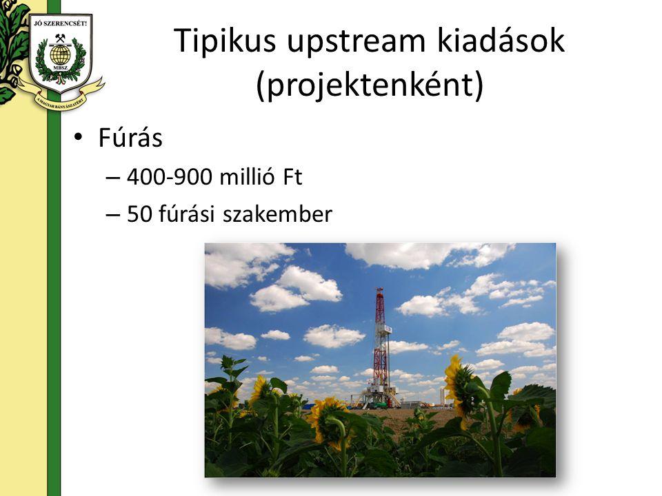 Tipikus upstream kiadások (projektenként) Gázüzem és vezetéképítés – Gázüzem: 200 millió - 2 milliárd Ft – Vezetéképítés: 20-40 millió Ft/km