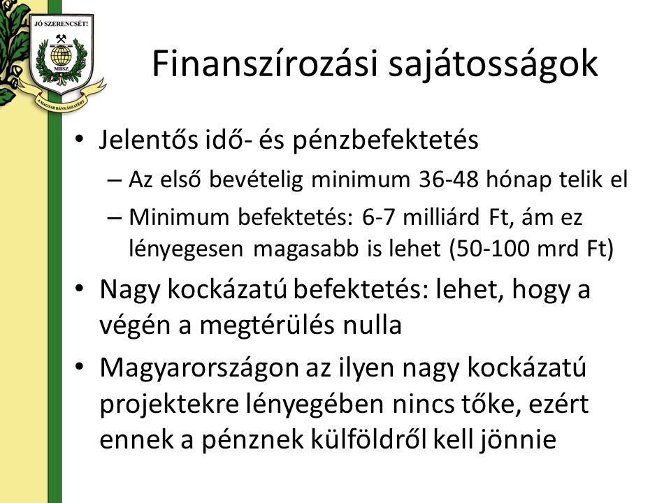 Finanszírozási sajátosságok Jelentős idő- és pénzbefektetés – Az első bevételig minimum 36-48 hónap telik el – Minimum befektetés: 6-7 milliárd Ft, ám