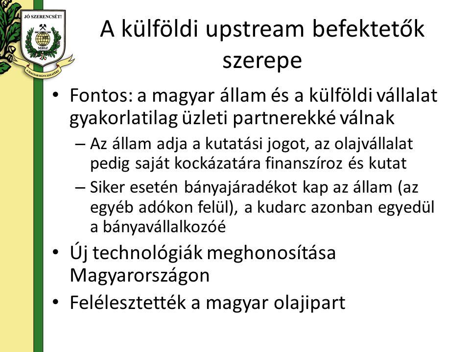 A külföldi upstream befektetők szerepe Fontos: a magyar állam és a külföldi vállalat gyakorlatilag üzleti partnerekké válnak – Az állam adja a kutatás