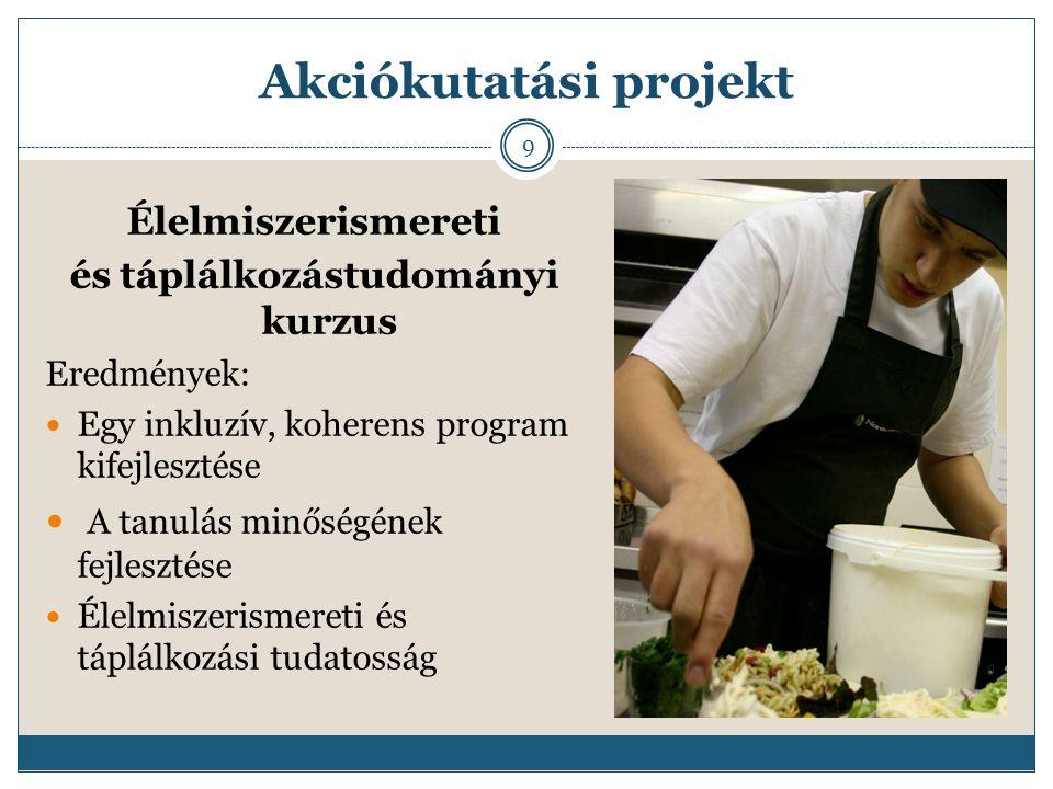 Akciókutatási projekt Élelmiszerismereti és táplálkozástudományi kurzus Eredmények: Egy inkluzív, koherens program kifejlesztése A tanulás minőségének fejlesztése Élelmiszerismereti és táplálkozási tudatosság 9