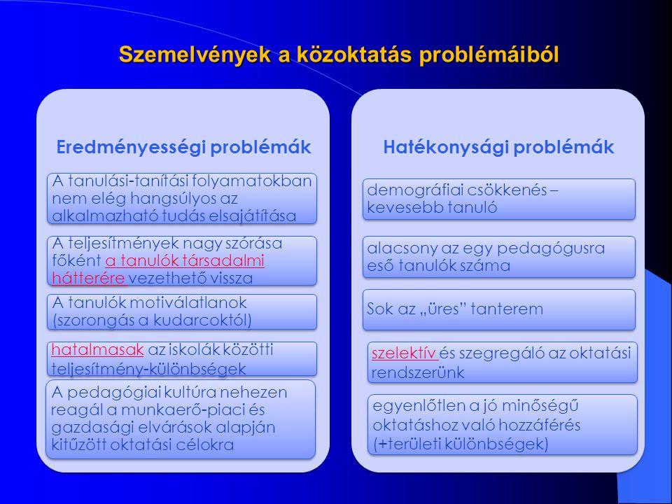 A fejlesztés résztvevői: TÁMOP 3.1.1 (10,4 Mrd Ft) – Educatio kht, OFI TÁMOP 3.2.2 (4,2 Mrd Ft) – 6 régióban nyertes pályázat lett hirdetve, velük jelenleg zajlik a szerződéskötés, 1 régió vonatkozásában lezárult a pályázat, folyik az értékelés TÁMOP 3.1.4 (24,4 Mrd Ft) – több mint 400 nyertes pályázat, résztvevő intézmények száma több mint 1500 db.