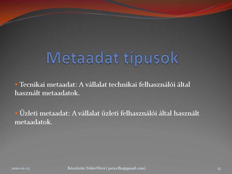  Tecnikai metaadat: A vállalat technikai felhasználói által használt metaadatok.