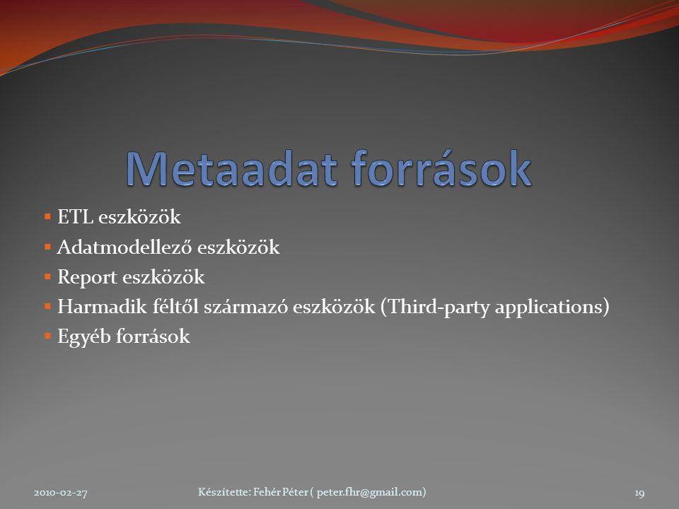  ETL eszközök  Adatmodellező eszközök  Report eszközök  Harmadik féltől származó eszközök (Third-party applications)  Egyéb források 2010-02-27Készítette: Fehér Péter ( peter.fhr@gmail.com)19