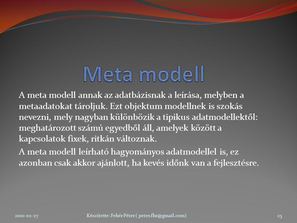A meta modell annak az adatbázisnak a leírása, melyben a metaadatokat tároljuk.