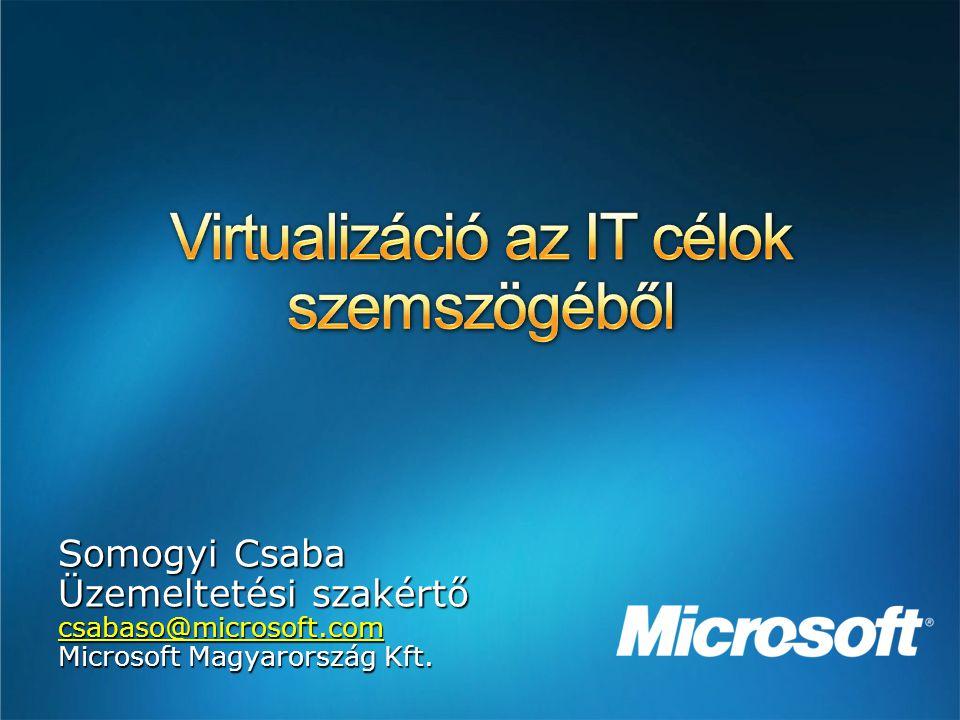 Somogyi Csaba Üzemeltetési szakértő csabaso@microsoft.com Microsoft Magyarország Kft.