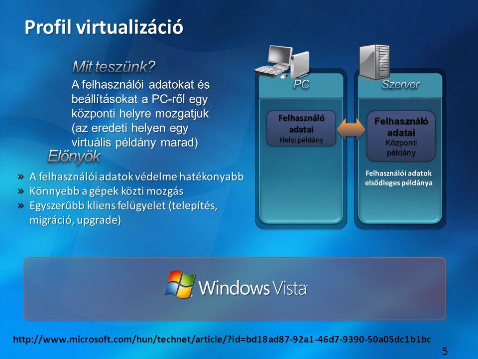 5 Profil virtualizáció http://www.microsoft.com/hun/technet/article/ id=bd18ad87-92a1-46d7-9390-50a05dc1b1bc