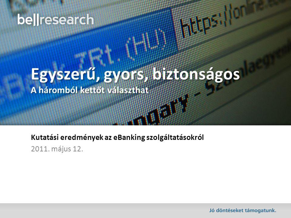 Egyszerű, gyors, biztonságos A háromból kettőt választhat Kutatási eredmények az eBanking szolgáltatásokról 2011.