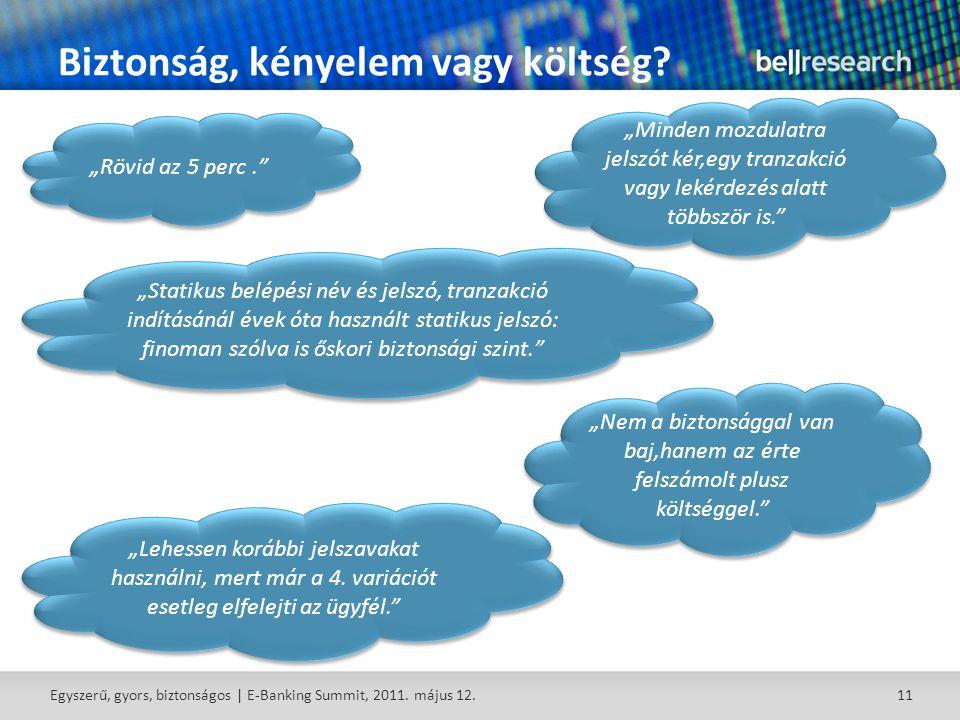 11 Biztonság, kényelem vagy költség. Egyszerű, gyors, biztonságos | E-Banking Summit, 2011.