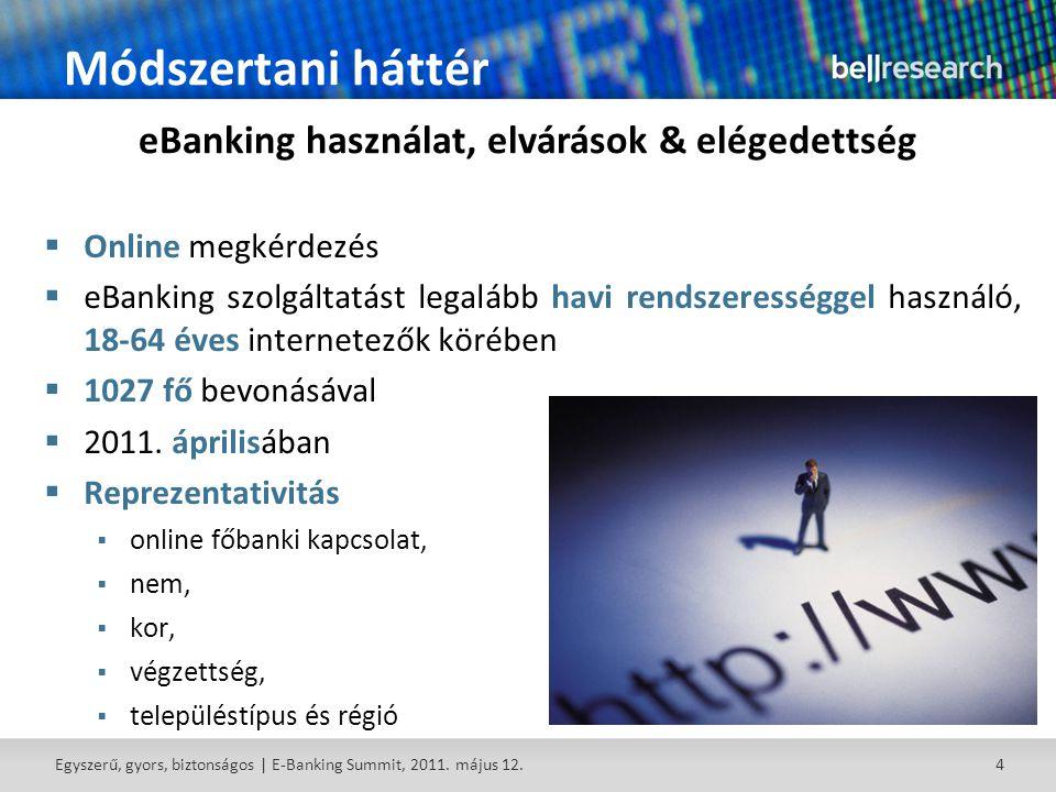 4 Módszertani háttér  Online megkérdezés  eBanking szolgáltatást legalább havi rendszerességgel használó, 18-64 éves internetezők körében  1027 fő bevonásával  2011.