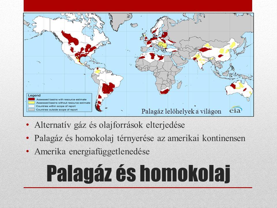 Palagáz és homokolaj Alternatív gáz és olajforrások elterjedése Palagáz és homokolaj térnyerése az amerikai kontinensen Amerika energiafüggetlenedése Palagáz lelőhelyek a világon
