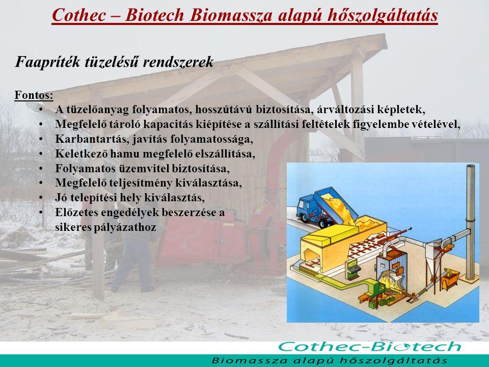 Cothec – Biotech Biomassza alapú hőszolgáltatás Faapríték tüzelésű rendszerek Fontos: A tüzelőanyag folyamatos, hosszútávú biztosítása, árváltozási ké