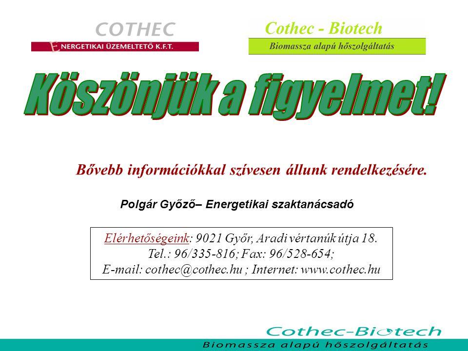 Bővebb információkkal szívesen állunk rendelkezésére. Polgár Győző– Energetikai szaktanácsadó Elérhetőségeink: 9021 Győr, Aradi vértanúk útja 18. Tel.