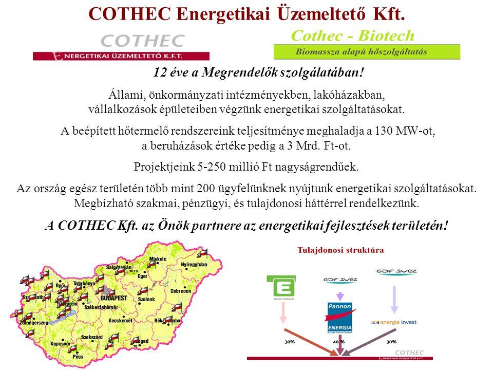 Cothec – Biotech Biomassza alapú hőszolgáltatás Faapríték tüzelésű rendszerek várható eredményei a Cothec Kft.- vel A földgáz árhoz képest kevesebbe kerülhet a hőtermelés, meghaladhatja a különbség a 15%-ot Szinten lehet tartani a 2011-es gázenergia költségszintet, A gázmotorok által kapcsoltan termelt olcsóbb hő nem folyamatos termelését is ki lehet váltani, A gáz teljesítményt nagy mértékben lehet csökkenteni, Az önkormányzatnak vagy távhős cégnek nem kell pénz forrást biztosítani, Alapdíjas konstrukcióban 12 hónapra egyenlően oszlik el a szolgáltatás díja, így a téli hónapokban csökken a költség teher, Kevésbé függ a rendszer az állami támogatás mértékétől, Az optimális gázbeszerzésben tudunk segíteni, mint műszaki, mint mennyiségi oldalon.