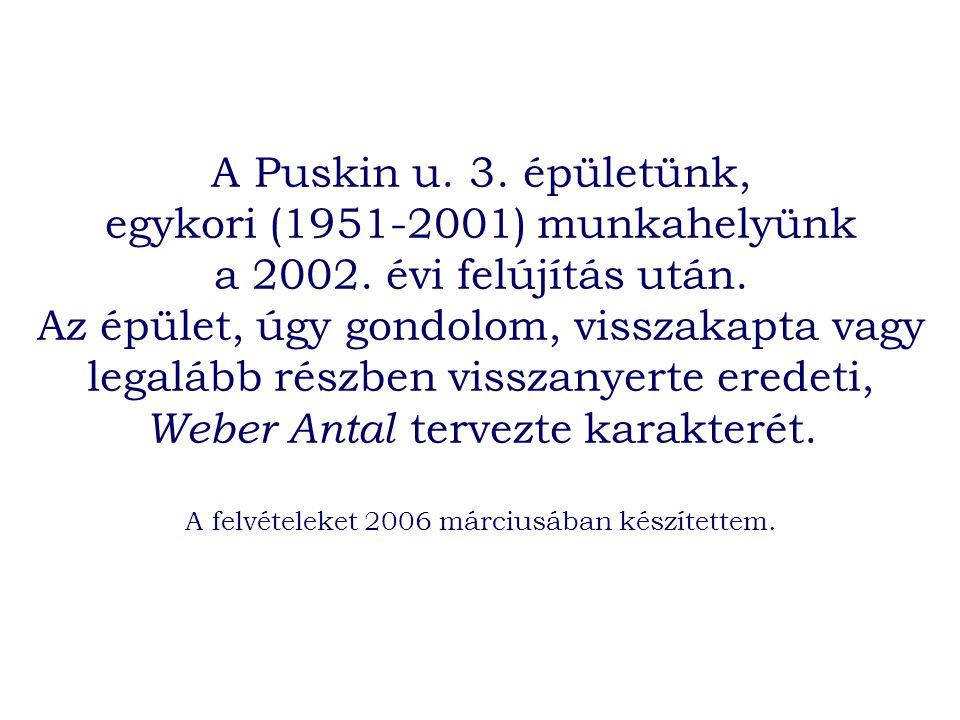 A Puskin u.3. épületünk, egykori (1951-2001) munkahelyünk a 2002.