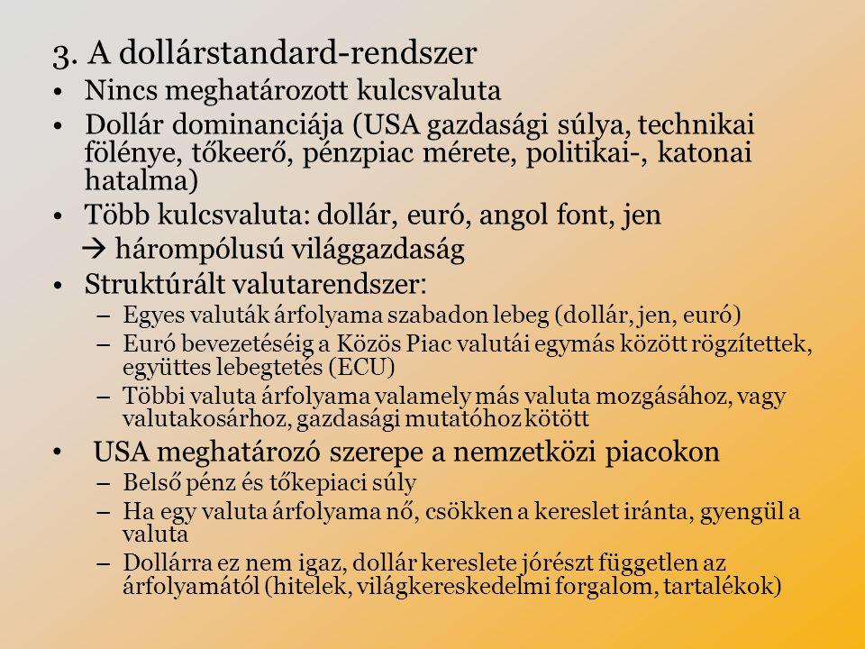 3. A dollárstandard-rendszer Nincs meghatározott kulcsvaluta Dollár dominanciája (USA gazdasági súlya, technikai fölénye, tőkeerő, pénzpiac mérete, po