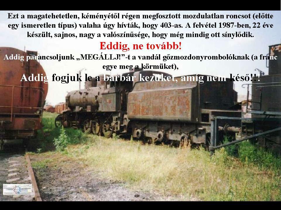 In Memoriam 490 Ezt a képet inkább nem kommentálnám, mert annyira elérzékenyülök ennek a kicsiny, keskeny nyomtávú mozdonyka roncsának láttán, hogy mi tagadás, férfiember létemre sírhatnékom támad… Vajon, kinek állhat érdekében, hogy ebek harmincadján maradjon…?