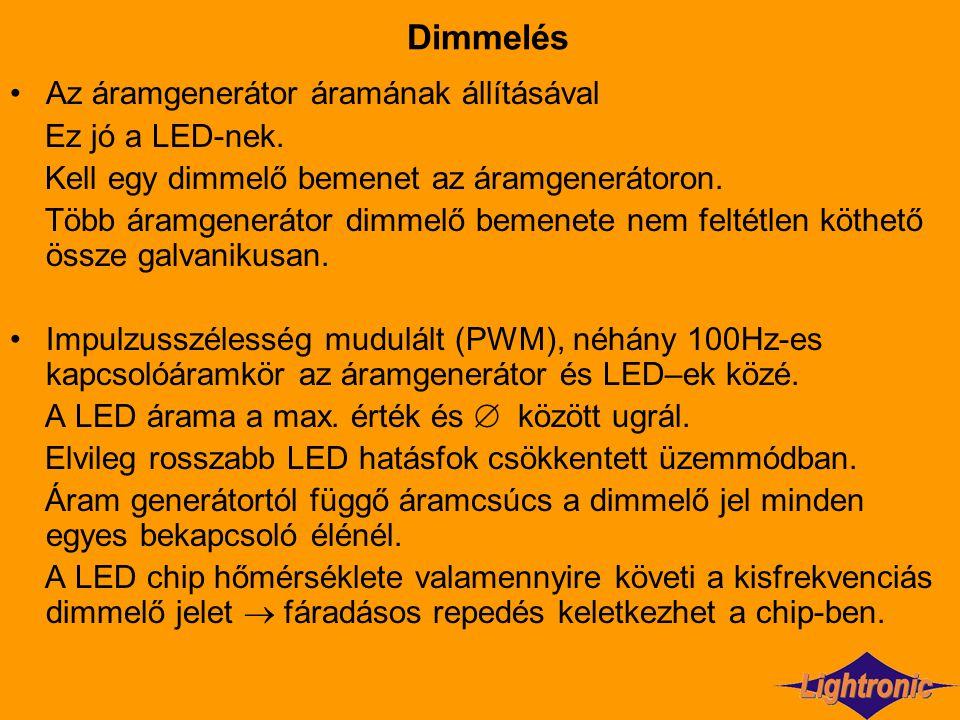 Dimmelés Az áramgenerátor áramának állításával Ez jó a LED-nek. Kell egy dimmelő bemenet az áramgenerátoron. Több áramgenerátor dimmelő bemenete nem f