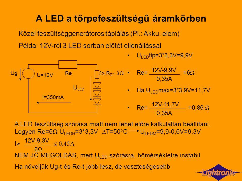 A LED a törpefeszültségű áramkörben U LED tip=3*3,3V=9,9V Re= =6  Ha U LED max=3*3,9V=11,7V Re= =0,86  Közel feszültséggenerátoros táplálás (Pl.: Ak