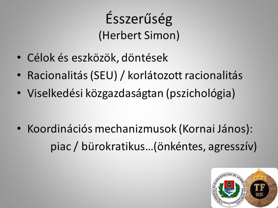 Ésszerűség (Herbert Simon) Célok és eszközök, döntések Racionalitás (SEU) / korlátozott racionalitás Viselkedési közgazdaságtan (pszichológia) Koordin