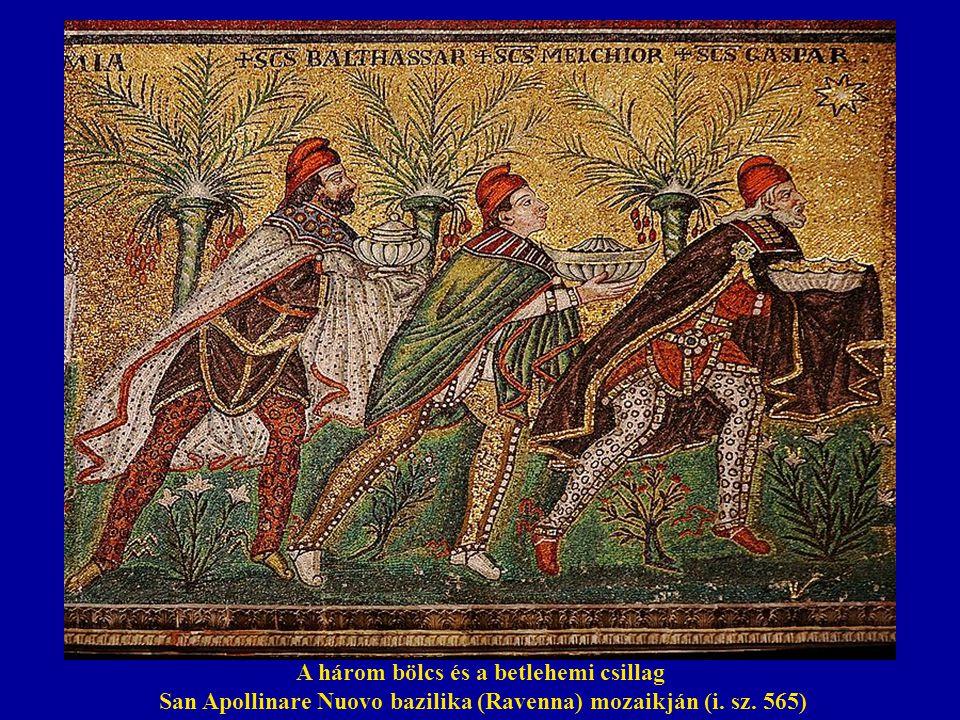 A három bölcs és a betlehemi csillag San Apollinare Nuovo bazilika (Ravenna) mozaikján (i. sz. 565)