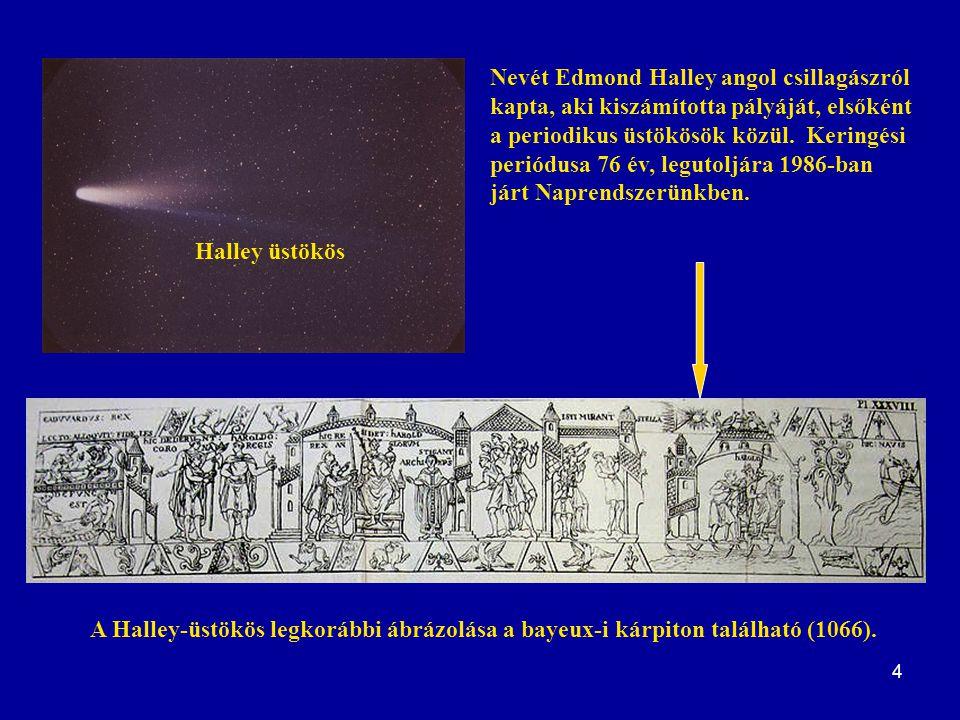 4 Nevét Edmond Halley angol csillagászról kapta, aki kiszámította pályáját, elsőként a periodikus üstökösök közül. Keringési periódusa 76 év, legutolj