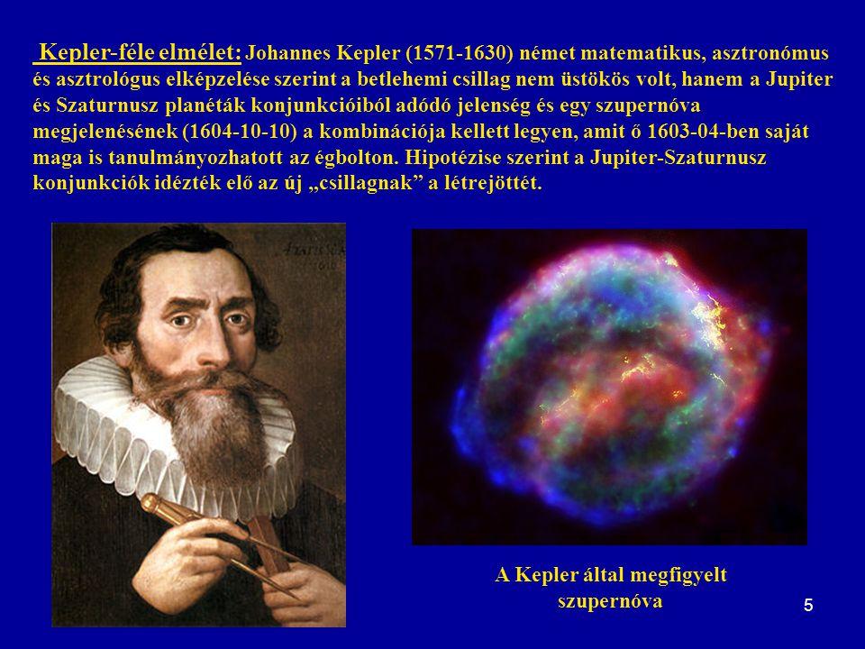 5 Kepler-féle elmélet: Johannes Kepler (1571-1630) német matematikus, asztronómus és asztrológus elképzelése szerint a betlehemi csillag nem üstökös v