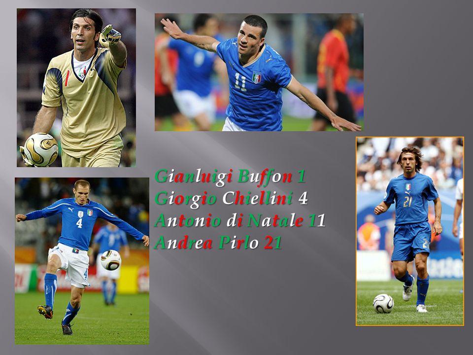Gianluigi Buffon 1 Giorgio Chiellini 4 Antonio di Natale 11 Andrea Pirlo 21