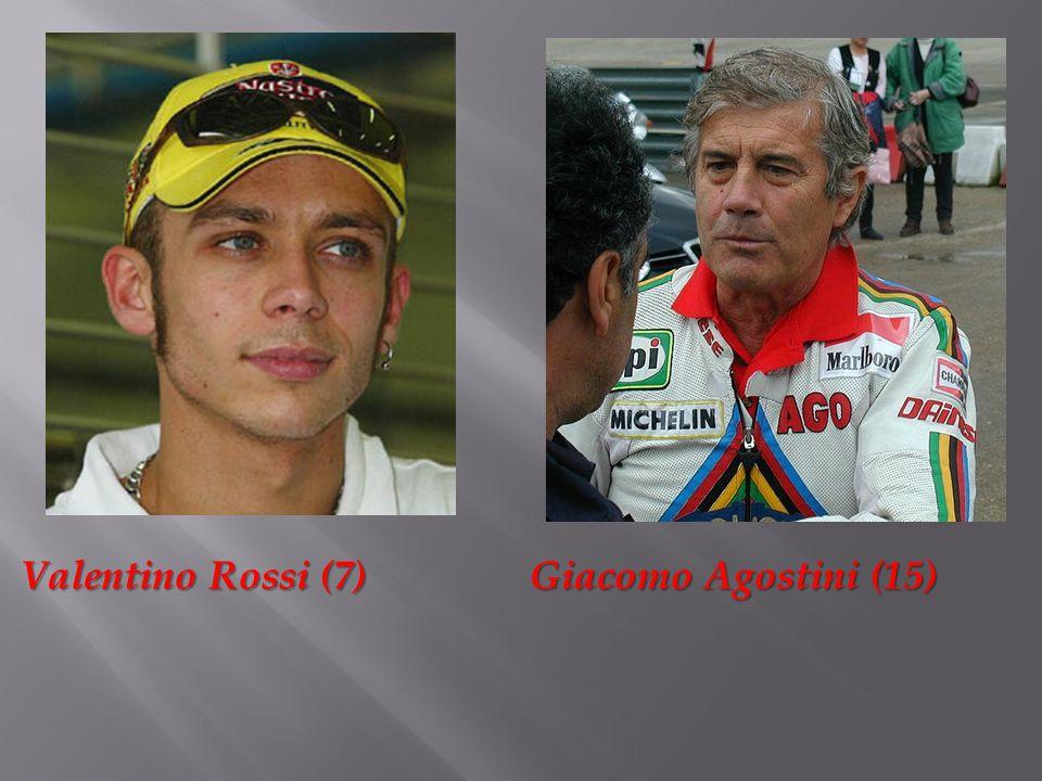 Valentino Rossi (7) Giacomo Agostini (15) Valentino Rossi (7) Giacomo Agostini (15)