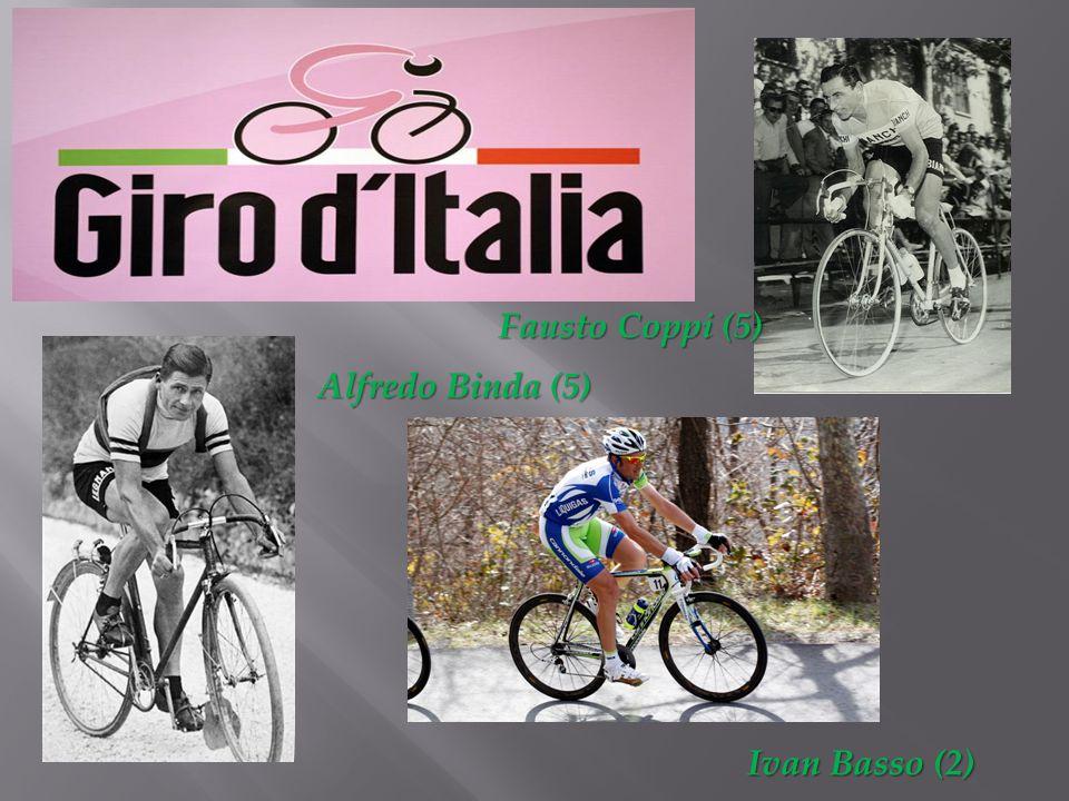 Fausto Coppi (5) Fausto Coppi (5) Alfredo Binda (5) Ivan Basso (2)