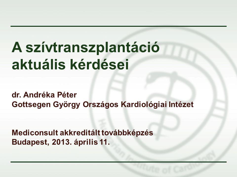 A szívtranszplantáció aktuális kérdései dr. Andréka Péter Gottsegen György Országos Kardiológiai Intézet Mediconsult akkreditált továbbképzés Budapest