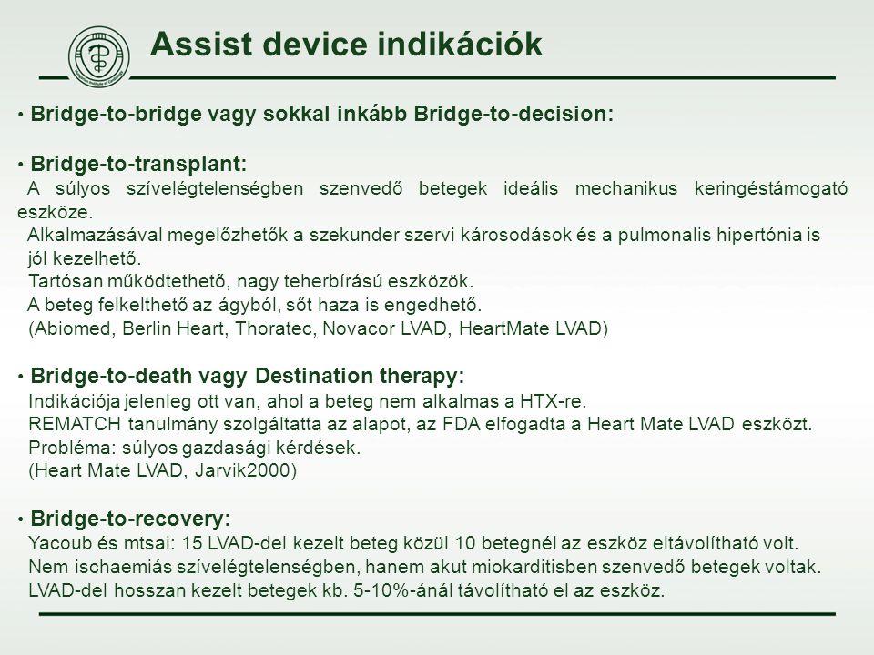 Assist device indikációk Bridge-to-bridge vagy sokkal inkább Bridge-to-decision: Bridge-to-transplant: A súlyos szívelégtelenségben szenvedő betegek i