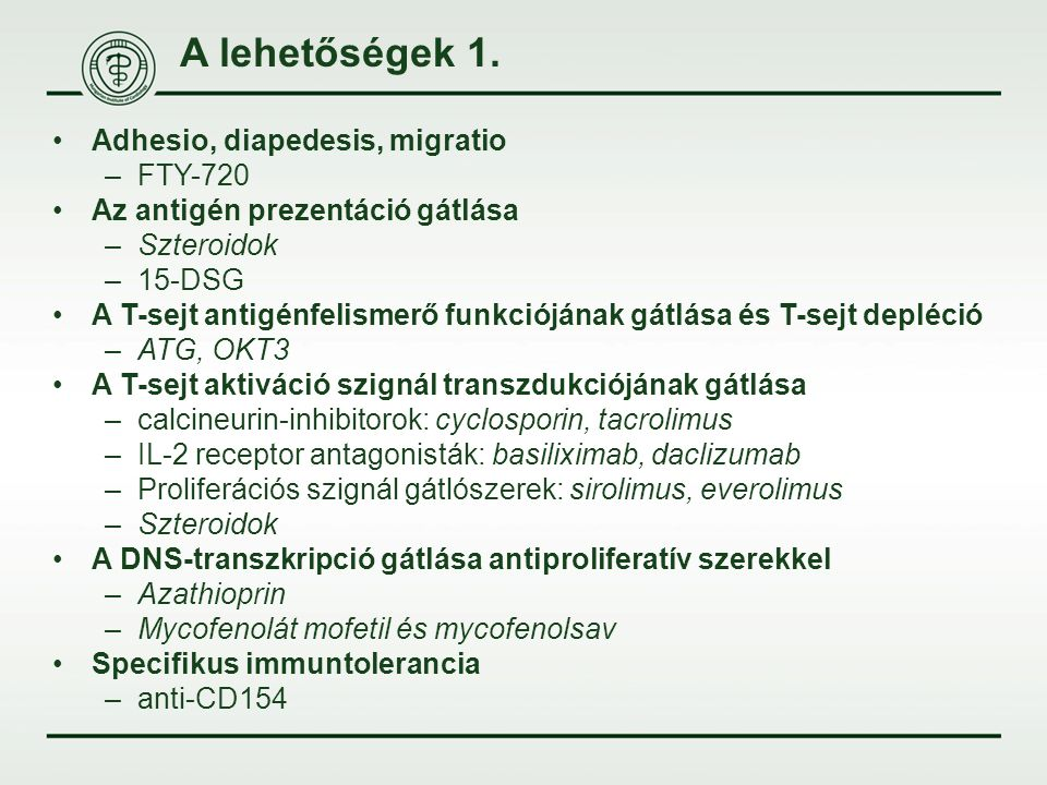 A lehetőségek 1. Adhesio, diapedesis, migratio –FTY-720 Az antigén prezentáció gátlása –Szteroidok –15-DSG A T-sejt antigénfelismerő funkciójának gátl