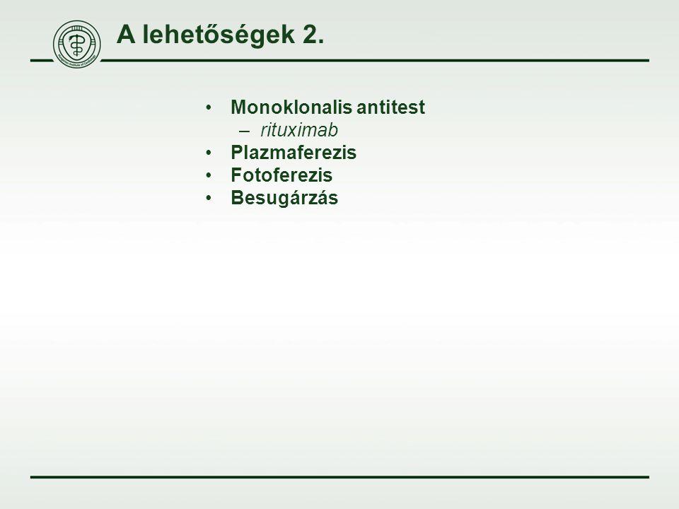 A lehetőségek 2. Monoklonalis antitest –rituximab Plazmaferezis Fotoferezis Besugárzás
