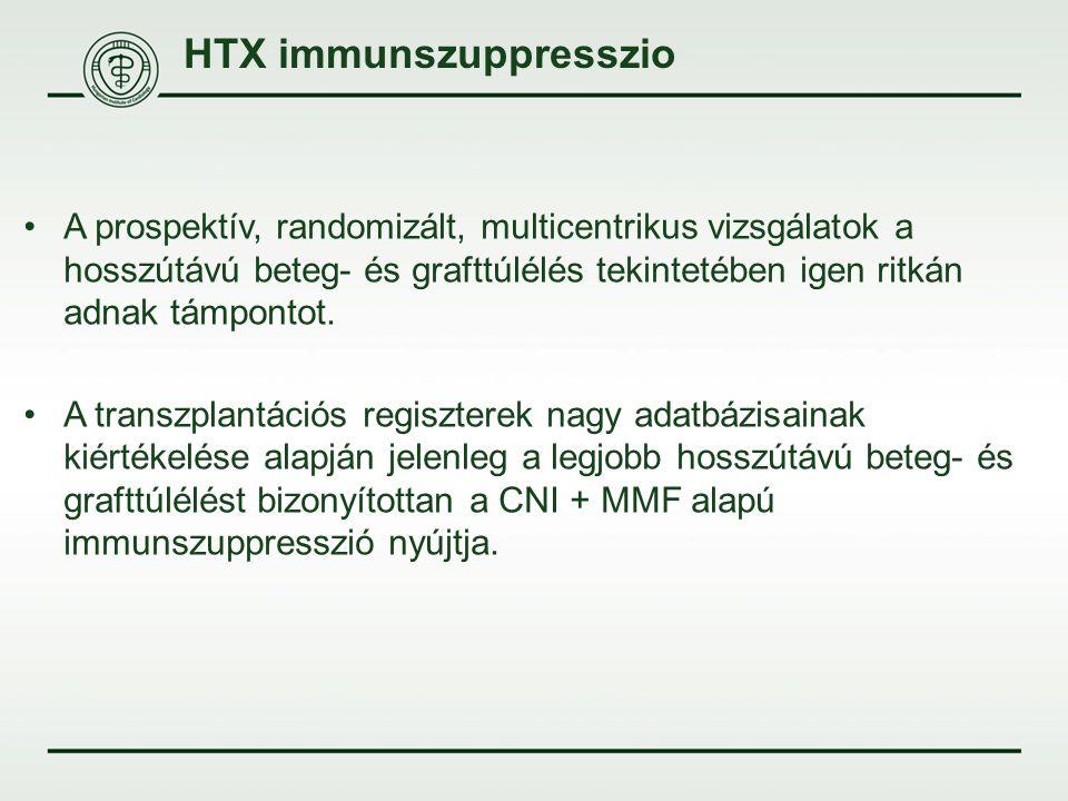 HTX immunszuppresszio A prospektív, randomizált, multicentrikus vizsgálatok a hosszútávú beteg- és grafttúlélés tekintetében igen ritkán adnak támpont