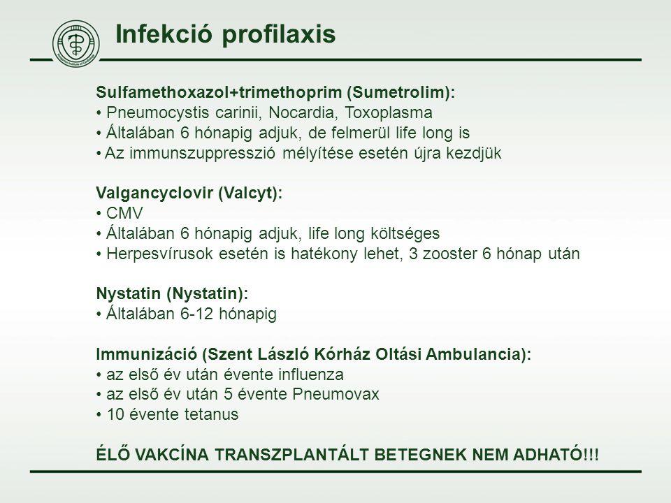 Infekció profilaxis Sulfamethoxazol+trimethoprim (Sumetrolim): Pneumocystis carinii, Nocardia, Toxoplasma Általában 6 hónapig adjuk, de felmerül life