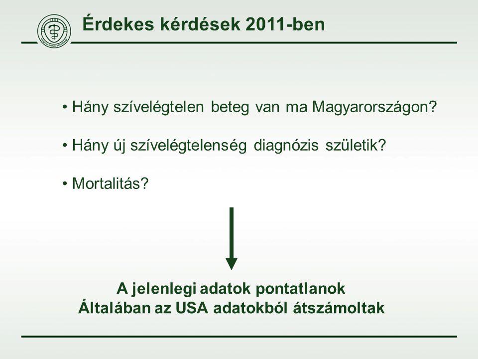 Érdekes kérdések 2011-ben Hány szívelégtelen beteg van ma Magyarországon? Hány új szívelégtelenség diagnózis születik? Mortalitás? A jelenlegi adatok