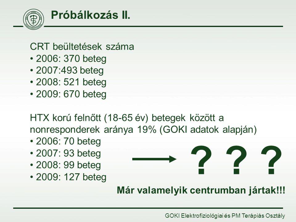 Próbálkozás II. GOKI Elektrofiziológiai és PM Terápiás Osztály CRT beültetések száma 2006: 370 beteg 2007:493 beteg 2008: 521 beteg 2009: 670 beteg HT