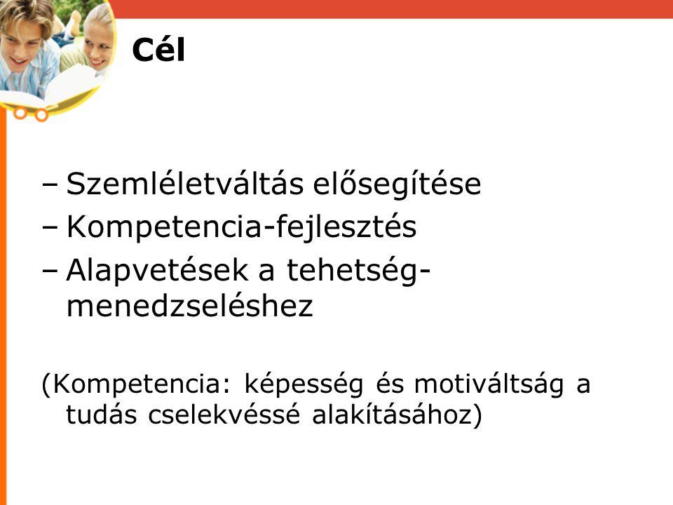 Cél –Szemléletváltás elősegítése –Kompetencia-fejlesztés –Alapvetések a tehetség- menedzseléshez (Kompetencia: képesség és motiváltság a tudás cselekvéssé alakításához)