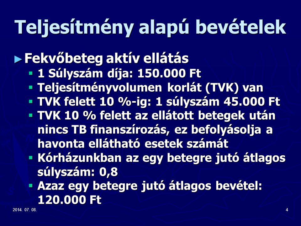2014. 07. 08.4 Teljesítmény alapú bevételek ► Fekvőbeteg aktív ellátás  1 Súlyszám díja: 150.000 Ft  Teljesítményvolumen korlát (TVK) van  TVK fele