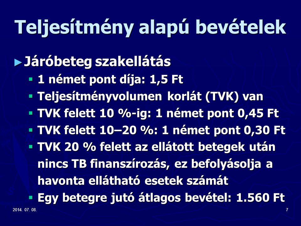 2014. 07. 08.7 Teljesítmény alapú bevételek ► Járóbeteg szakellátás  1 német pont díja: 1,5 Ft  Teljesítményvolumen korlát (TVK) van  TVK felett 10