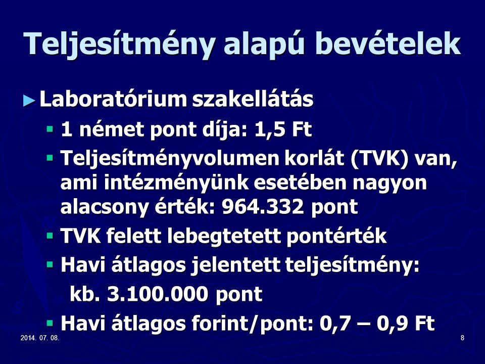 2014. 07. 08.8 Teljesítmény alapú bevételek ► Laboratórium szakellátás  1 német pont díja: 1,5 Ft  Teljesítményvolumen korlát (TVK) van, ami intézmé