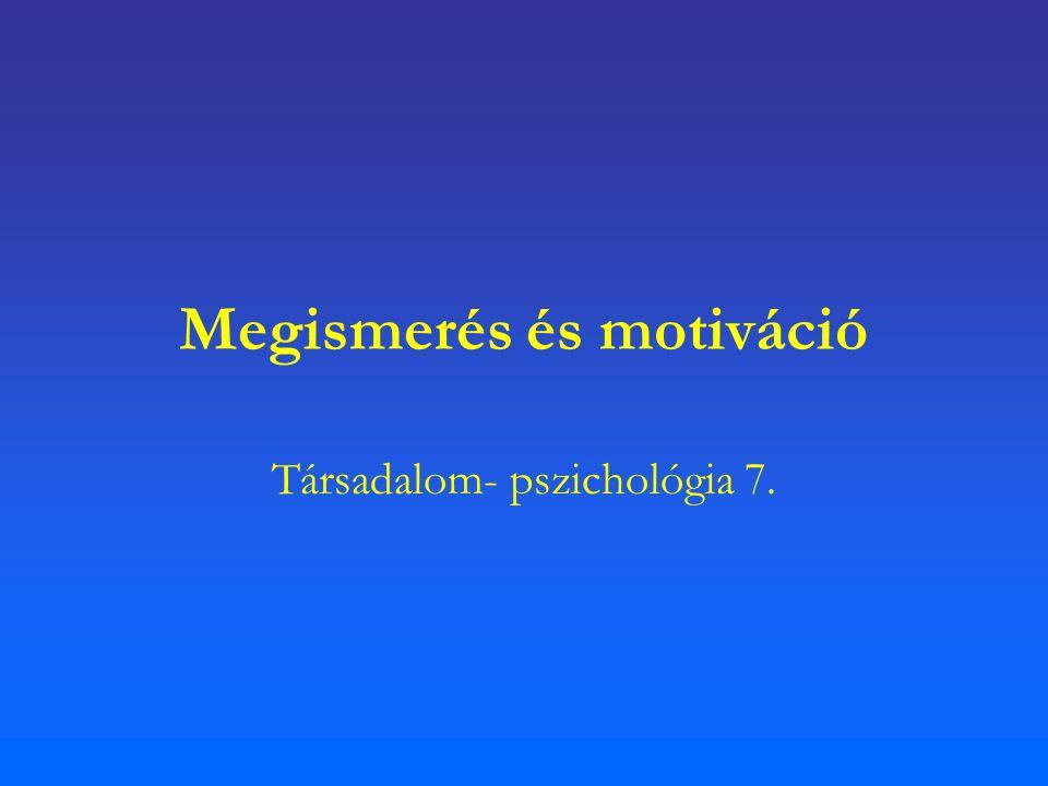 Megismerés és motiváció Társadalom- pszichológia 7.