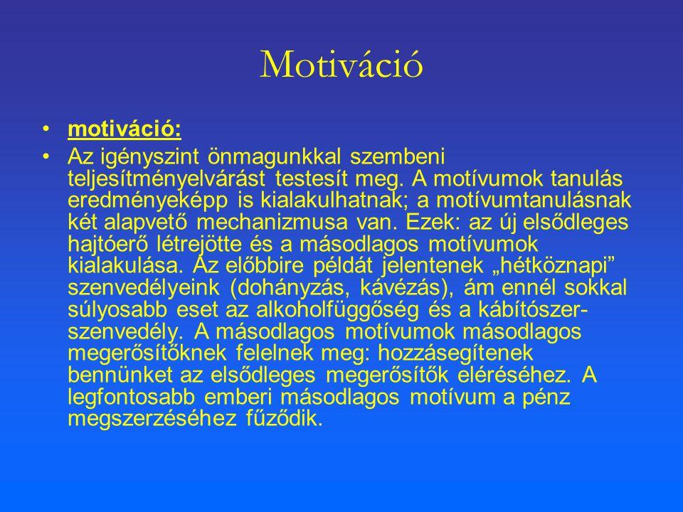 Motiváció motiváció: Az igényszint önmagunkkal szembeni teljesítményelvárást testesít meg. A motívumok tanulás eredményeképp is kialakulhatnak; a motí