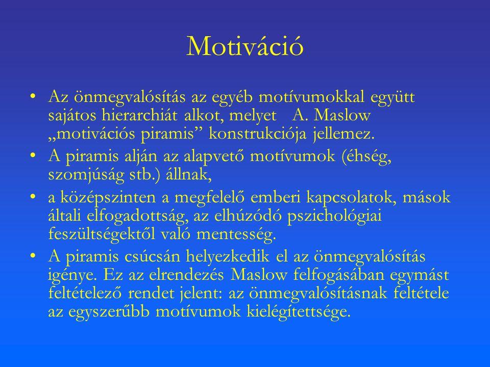 """Motiváció Az önmegvalósítás az egyéb motívumokkal együtt sajátos hierarchiát alkot, melyet A. Maslow """"motivációs piramis"""" konstrukciója jellemez. A pi"""