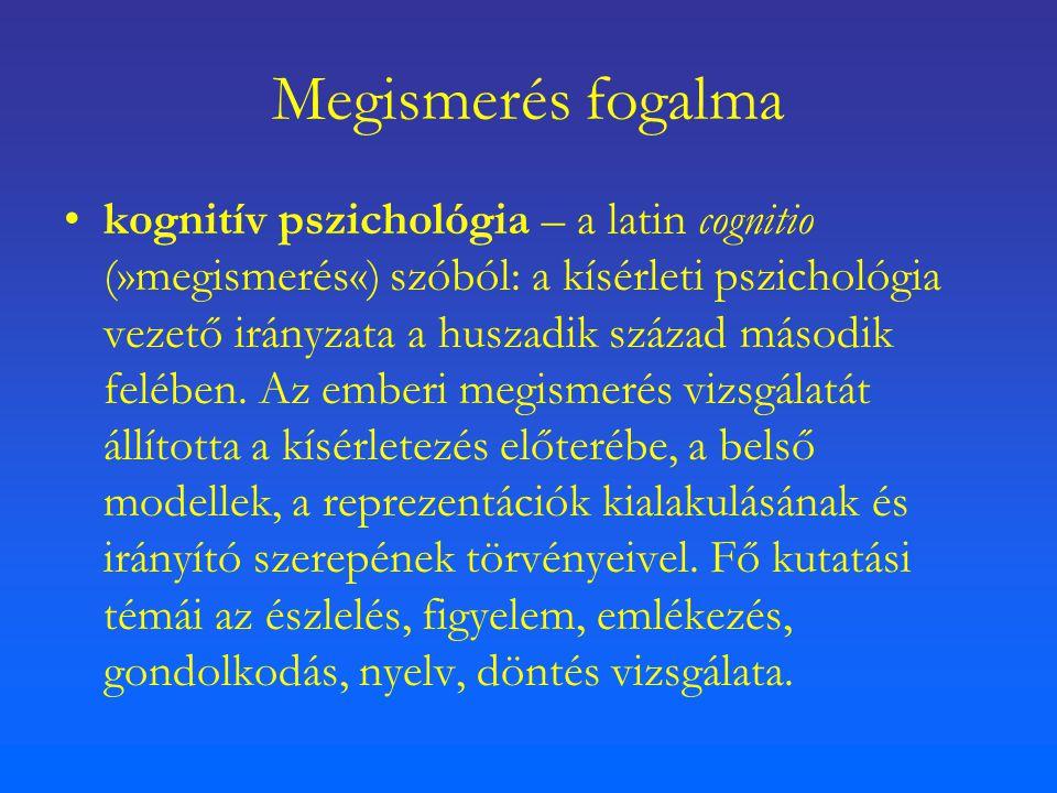 Megismerés fogalma kognitív pszichológia – a latin cognitio (»megismerés«) szóból: a kísérleti pszichológia vezető irányzata a huszadik század második